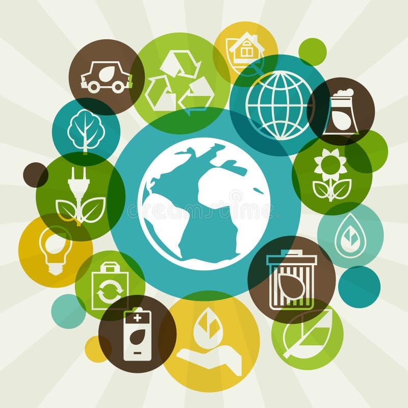 Fondo di ecologia con le icone dell'ambiente royalty illustrazione gratis