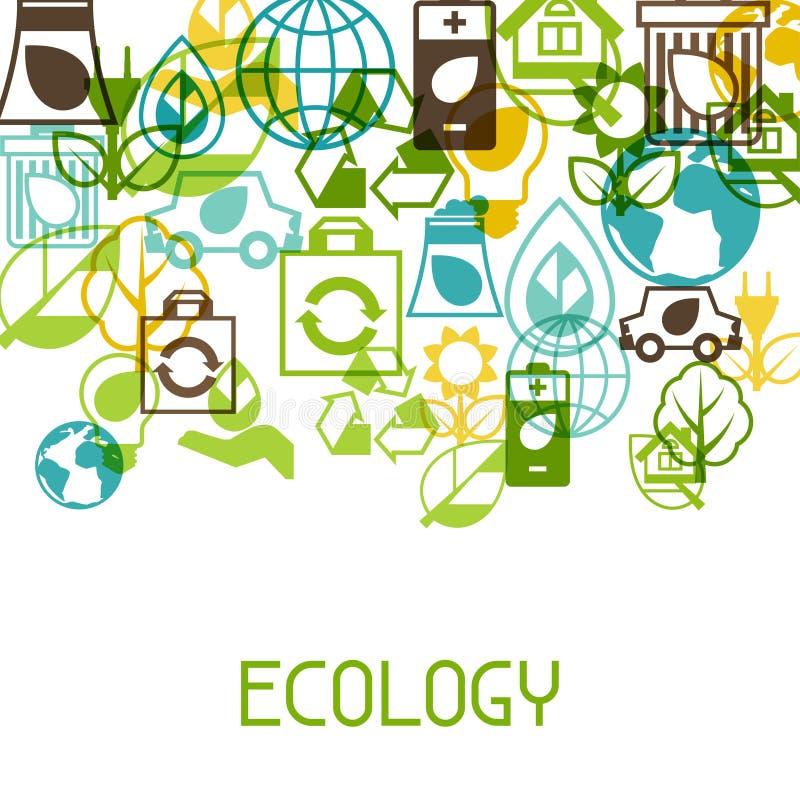 Fondo di ecologia con le icone dell'ambiente illustrazione di stock