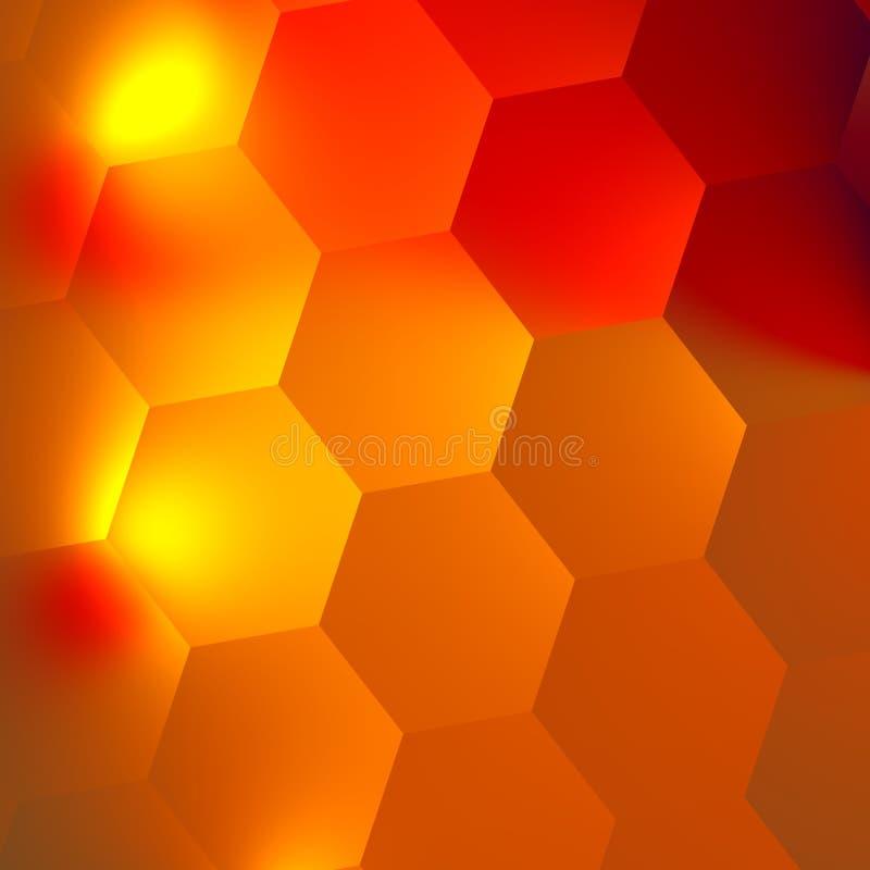 Fondo di esagoni dell'estratto di rosso arancio Effetto della luce intensa nello scuro Contesto del favo Progettazione minima di  illustrazione di stock