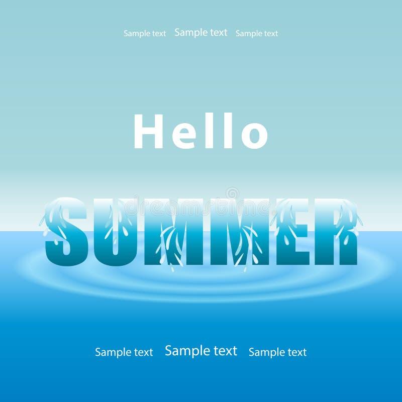 Fondo di estate, acqua di mare blu con le onde e cielo Testo CIAO illustrazione vettoriale