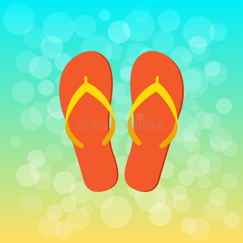 Fondo di estate con il Flip-flop arancio Vettore royalty illustrazione gratis