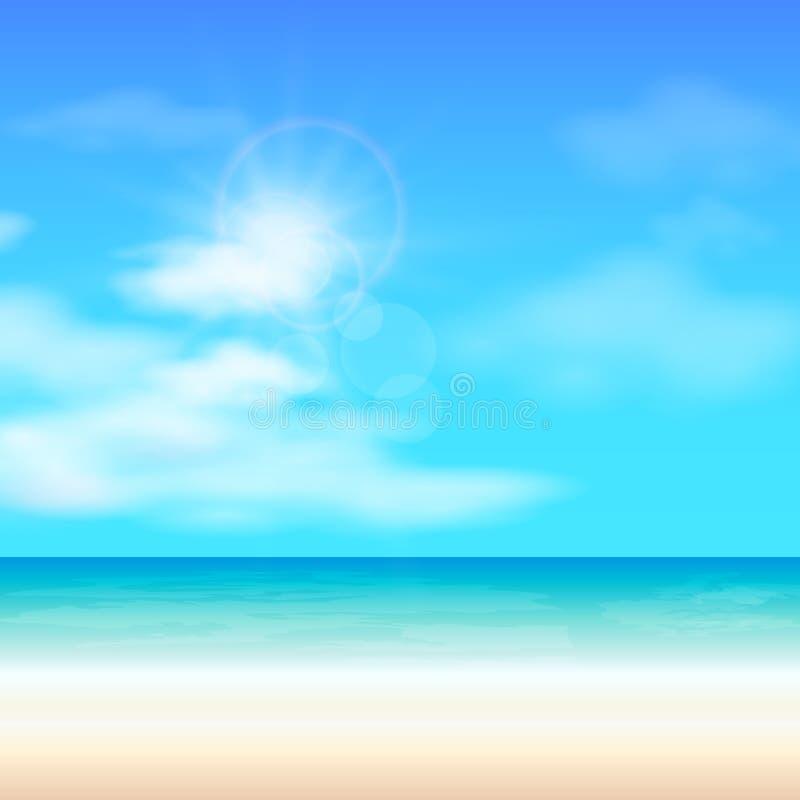 Fondo di estate della spiaggia, illustrazione di vettore royalty illustrazione gratis