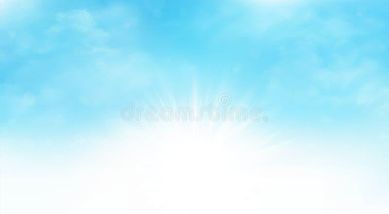 Fondo di estate materiale illustrativo di scena del cielo blu dello sprazzo di sole di ampio Potete usare per l'annuncio, manifes illustrazione di stock