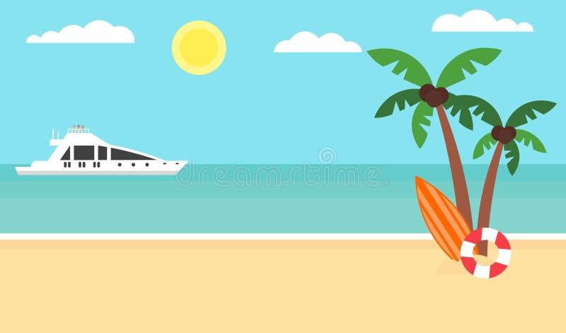 Fondo di estate - spiaggia di tramonto Mare, yacht e una palma Progettazione piana moderna Illustrazione di vettore royalty illustrazione gratis