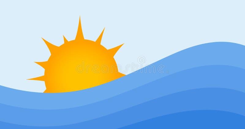 Fondo di estate Sun ed onde di acqua Alba o tramonto all'oceano o al mare Illustrazione di vettore royalty illustrazione gratis