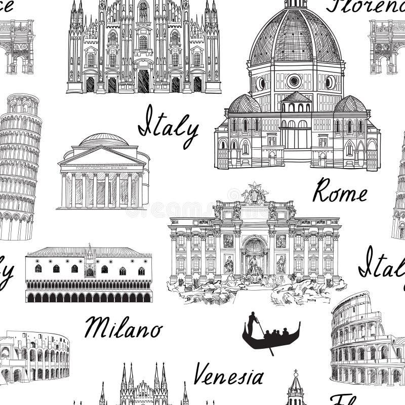 Fondo di Europa di viaggio Modello senza cuciture del punto di riferimento famoso dell'Italia illustrazione di stock