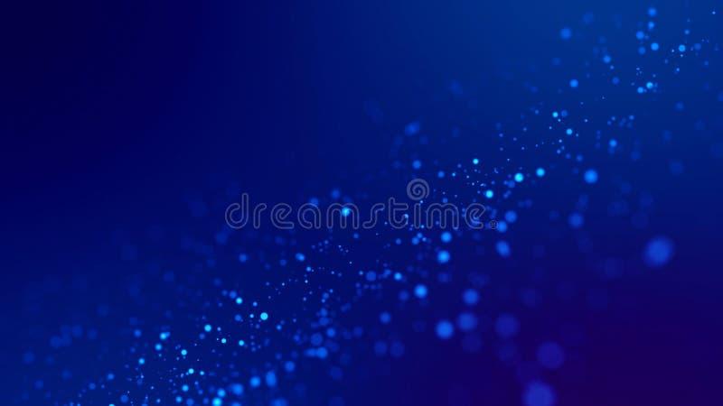 Fondo di fantascienza Emettono luce le particelle blu su fondo blu stanno appendendo in aria per la presentazione festiva luminos fotografia stock libera da diritti