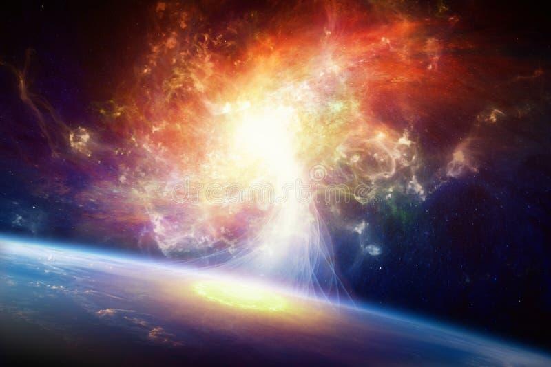 Fondo di fantascienza - galassia a spirale e pianeta Terra fotografia stock