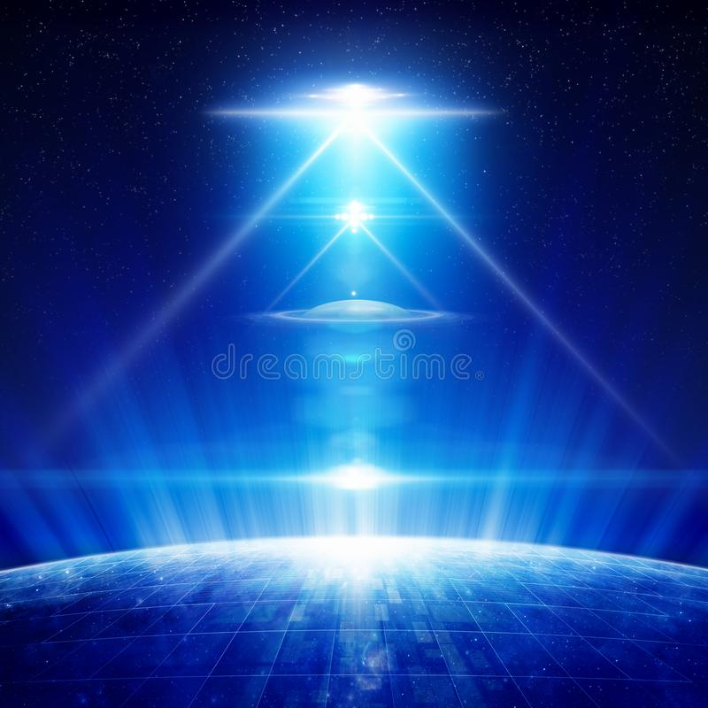 Fondo di fantascienza - UFO con i riflettori luminosi sopra il pianeta fotografia stock libera da diritti