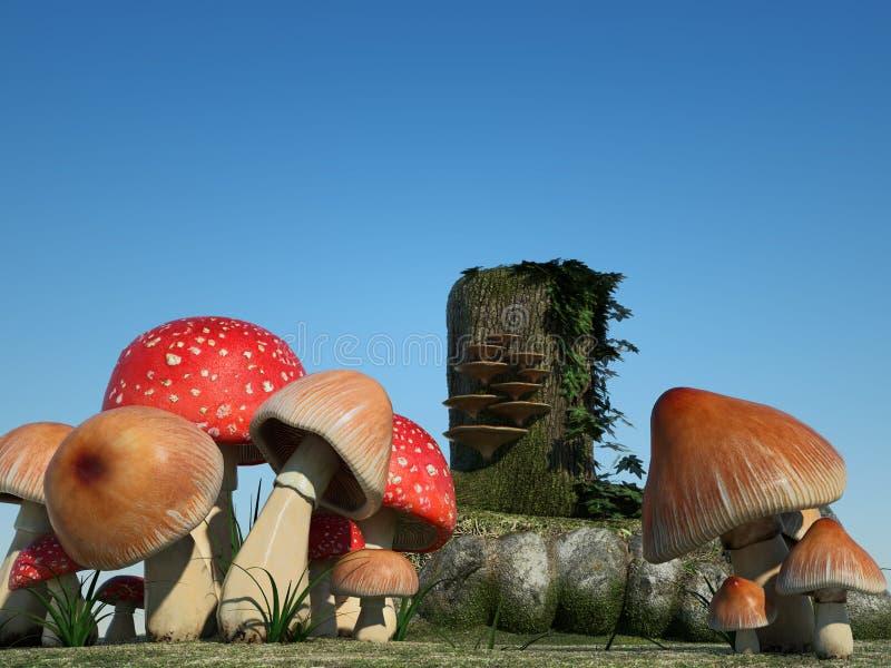 Fondo di fantasia: funghi fotografie stock libere da diritti
