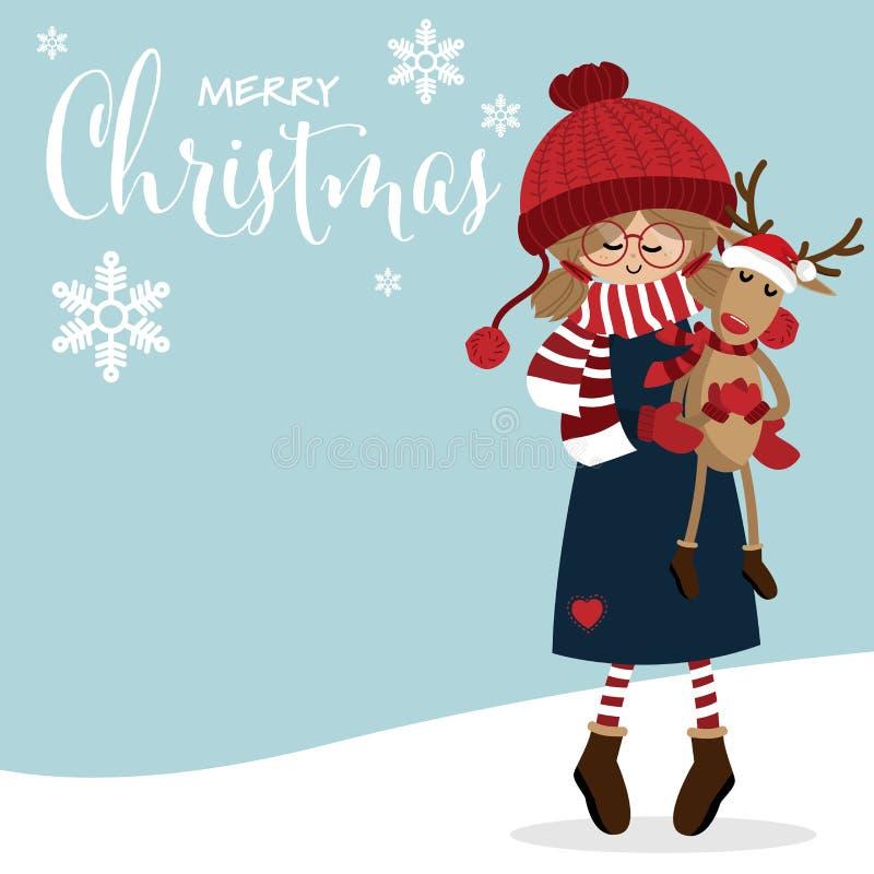Fondo di ferie di Natale con la ragazza sveglia nell'abitudine di inverno con la bambola sveglia della renna ed il testo di Natal illustrazione di stock