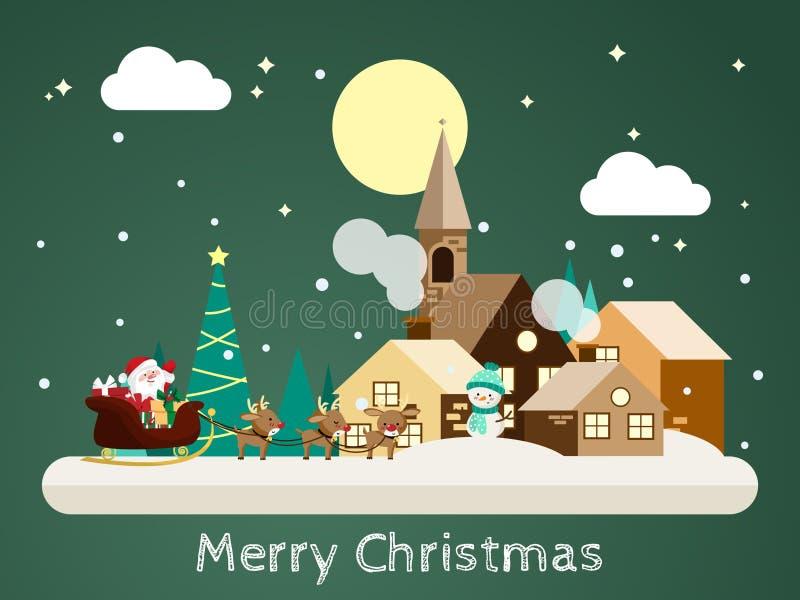 Fondo di ferie di Natale con Santa Claus che viene al paesaggio urbano di nevicata nella progettazione piana con l'uomo della nev royalty illustrazione gratis