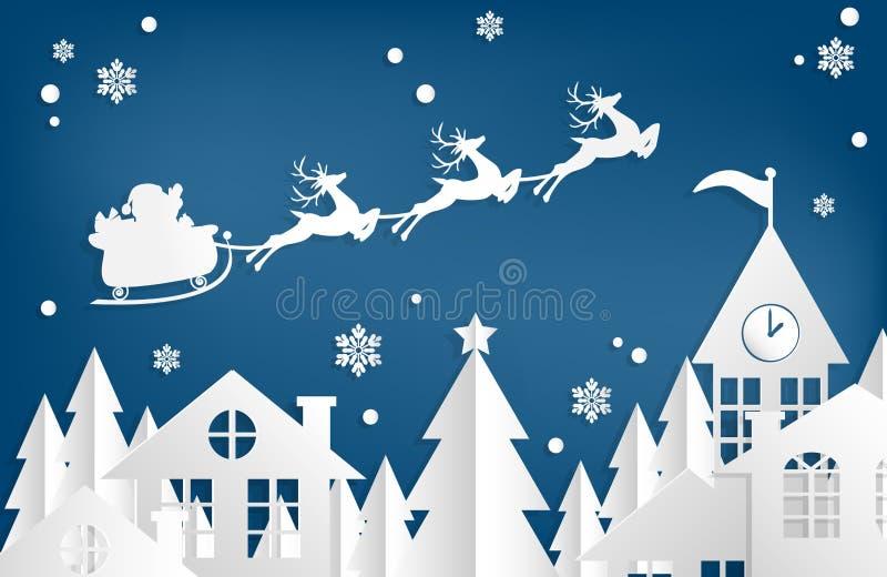 Fondo di ferie di Natale con Santa Claus sul cielo che viene alla città illustrazione vettoriale