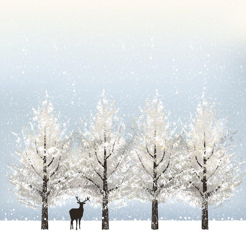 Fondo di festa con gli alberi e la renna nevosi illustrazione di stock