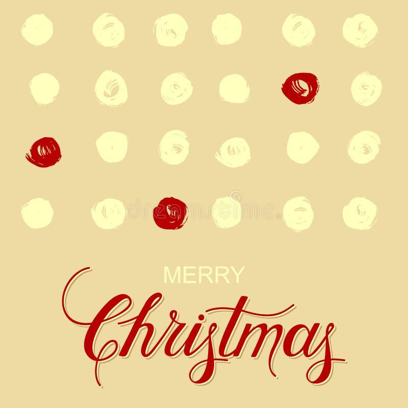 Fondo di festa con i cirlces di lerciume ed il Buon Natale disegnato a mano di parole illustrazione di stock