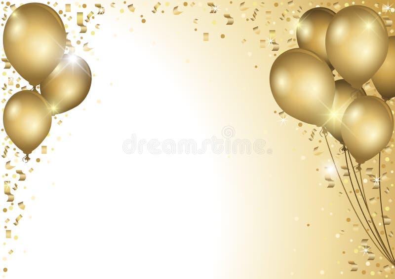 Fondo di festa con i palloni dell'oro royalty illustrazione gratis