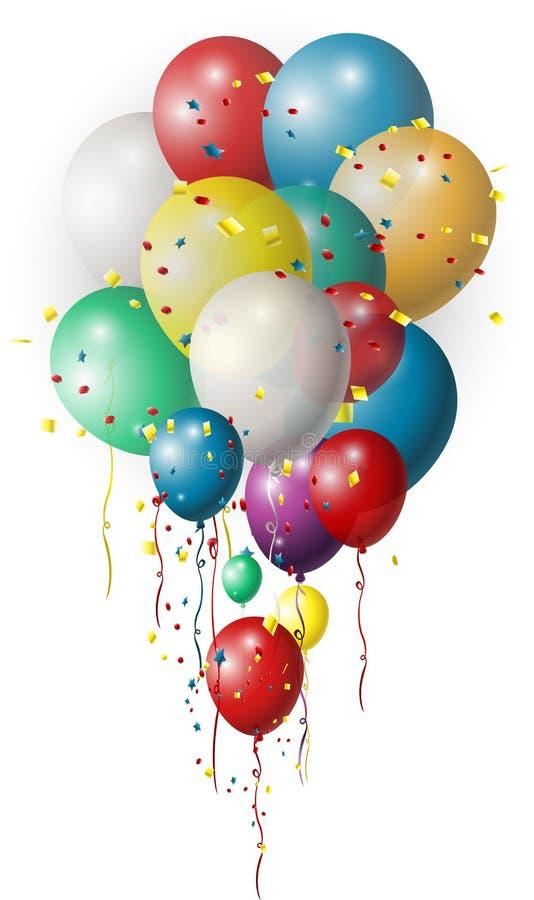 Fondo di festa con i palloni variopinti illustrazione di stock
