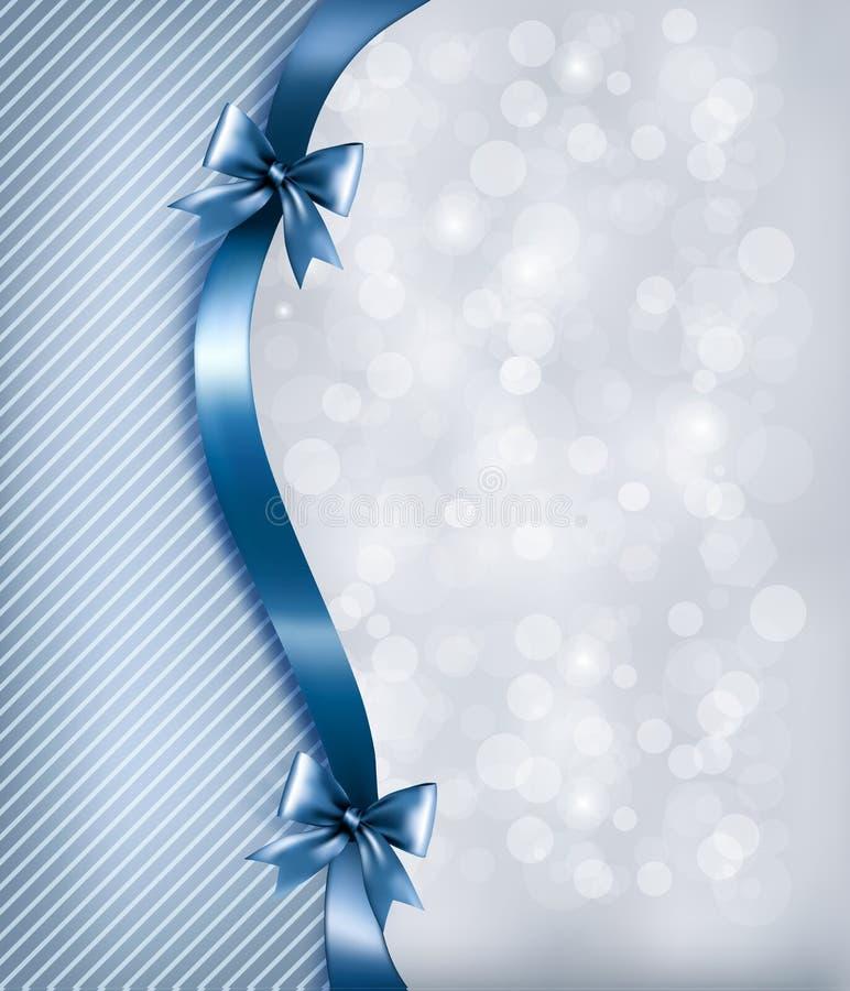 Fondo di festa con l'arco ed il nastro lucidi del regalo illustrazione di stock