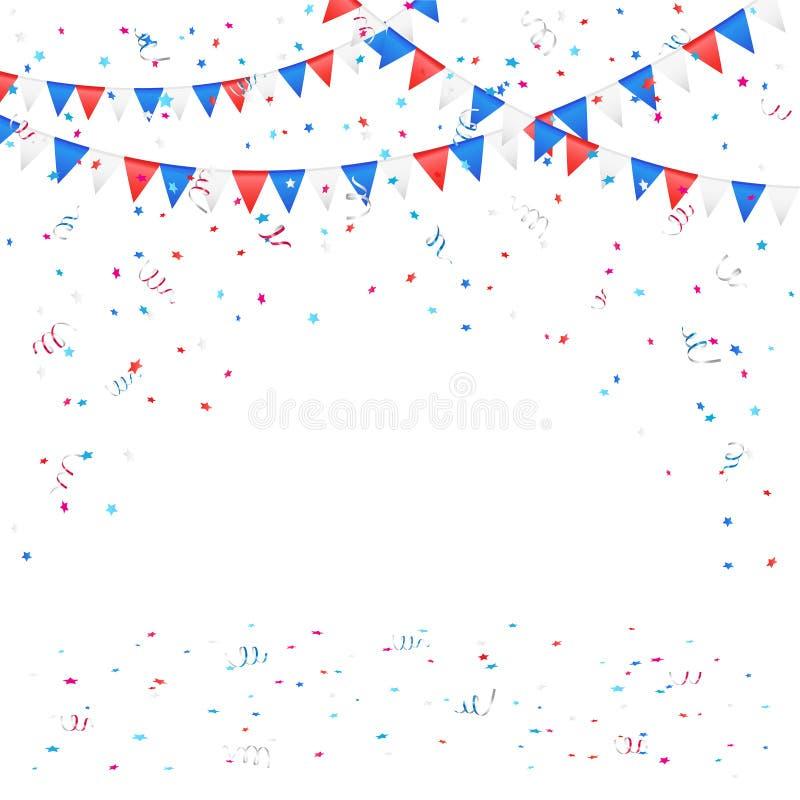Fondo di festa dell'indipendenza con i coriandoli royalty illustrazione gratis