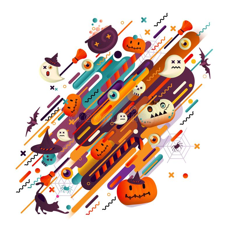 Fondo di festa di Halloween con le zucche, i ragni ed i crani Fondo astratto con l'arancia, la filatelia ed il colore nero del co illustrazione vettoriale