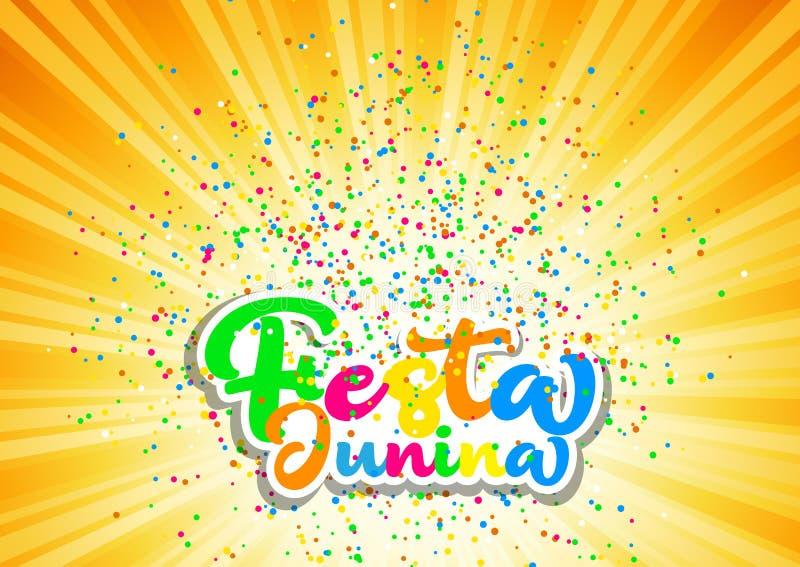 Fondo di Festa Junina con iscrizione e coriandoli colourful illustrazione vettoriale