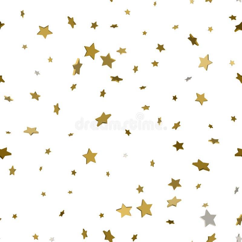 Fondo di festa, modello senza cuciture con le stelle 3d stella d'oro co illustrazione di stock