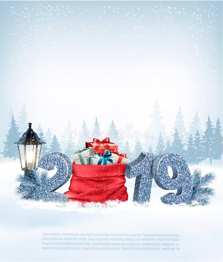 Fondo di festa di Natale con 2019 e sacco rosso illustrazione vettoriale