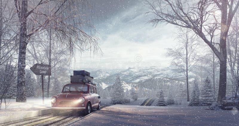 Fondo di festa di viaggio di inverno illustrazione di stock