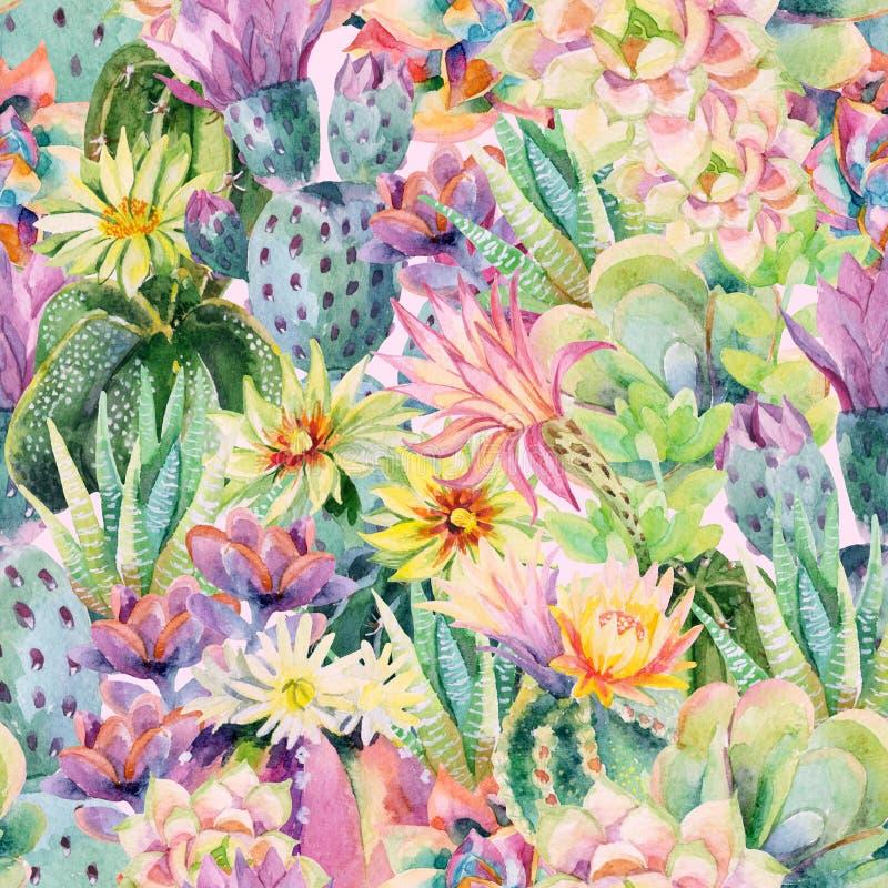 Fondo di fioritura del cactus dell'acquerello royalty illustrazione gratis
