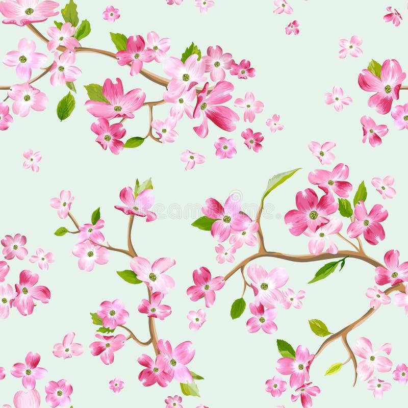 Fondo di fioritura del modello di fiori della primavera Stampa senza cuciture di modo illustrazione vettoriale