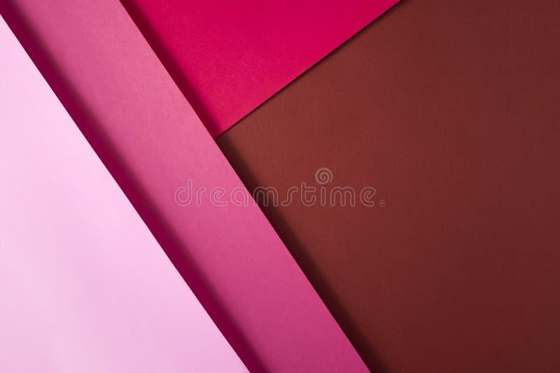 Fondo di forma e della geometria Decorazioni colorate del fondo con carta Tonalità del colore rosa fotografia stock