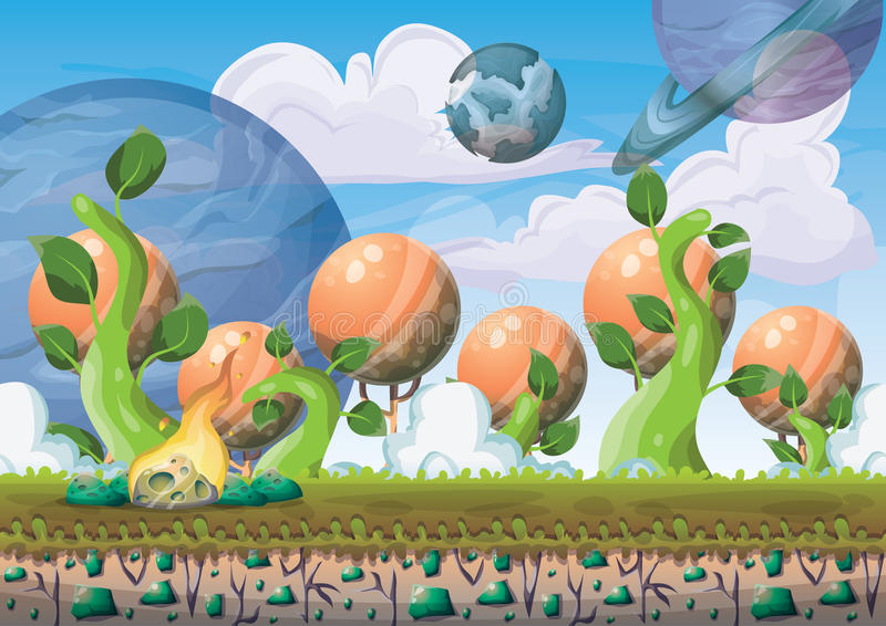 fondo di galleggiamento dell'isola di vettore del fumetto con gli strati separati per arte e l'animazione del gioco illustrazione vettoriale