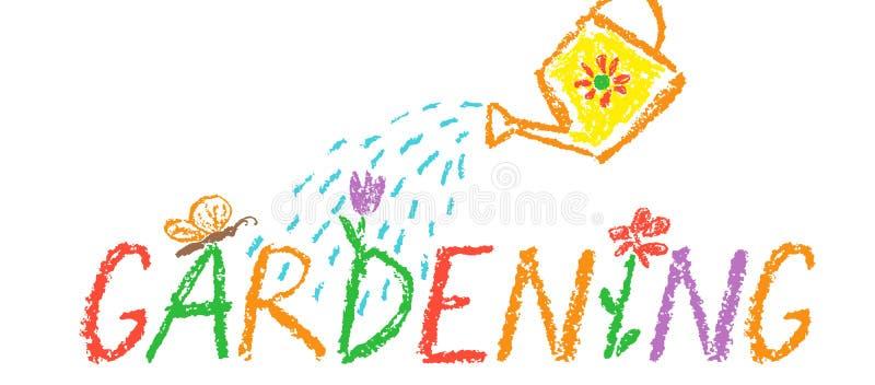 Fondo di giardinaggio del confine dell'intestazione del pastello Come la mano del bambino che disegna lo spazio all'aperto divert fotografia stock libera da diritti