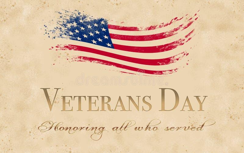 Fondo di giornata dei veterani con effetto di lerciume illustrazione vettoriale