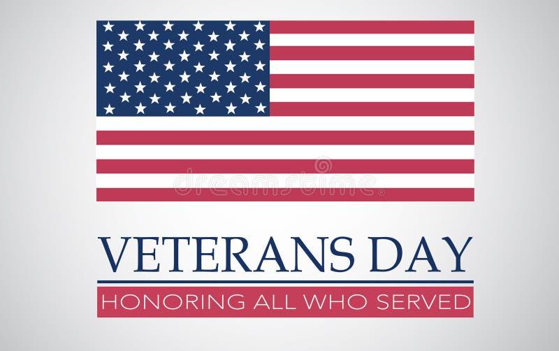 Fondo di giornata dei veterani con la bandiera immagine stock
