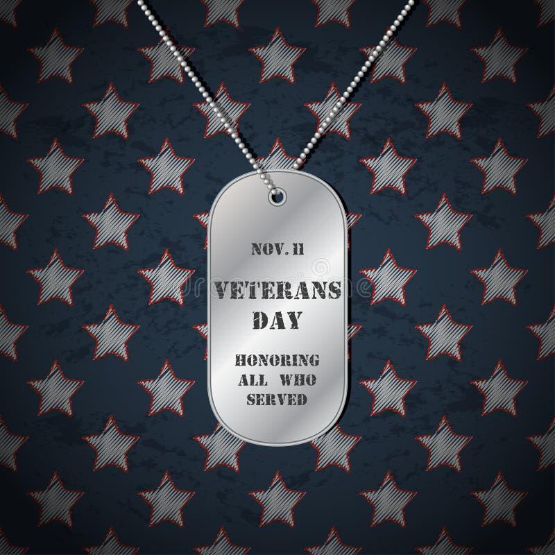 Fondo di giornata dei veterani di vettore con le medagliette per cani illustrazione vettoriale