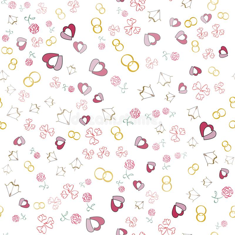 Fondo di giorno di biglietti di S. Valentino con i cuori, fedi nuziali, rose illustrazione di stock