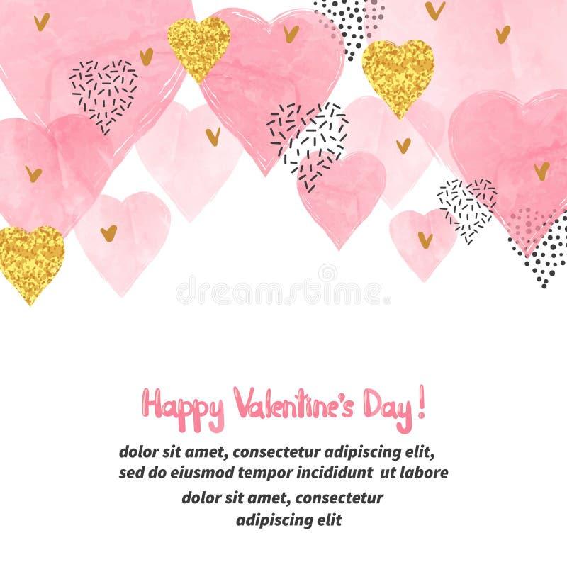 Fondo di giorno di biglietti di S. Valentino con i cuori di rosa dell'acquerello e posto per testo illustrazione vettoriale