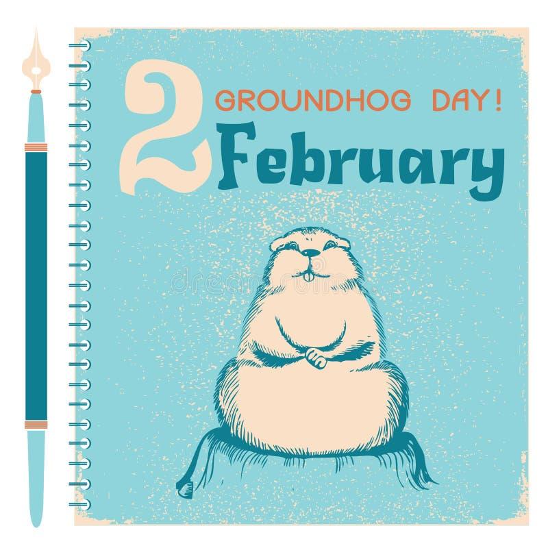 Fondo di giorno della marmotta con la marmotta sulla carta del taccuino royalty illustrazione gratis