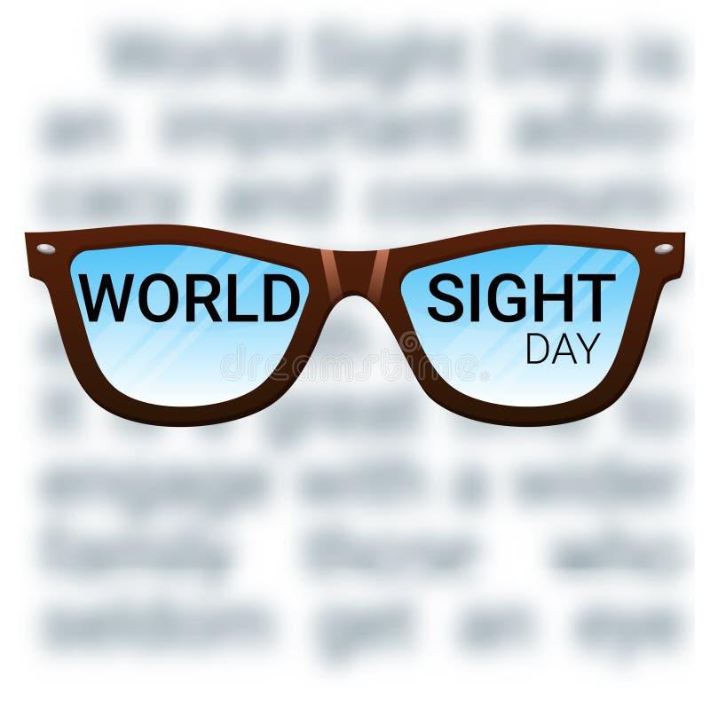 Fondo di giorno di vista del mondo Cecità di combattimento, cataratta, glaucoma, danno di visione Concetto di salute dell'occhio royalty illustrazione gratis