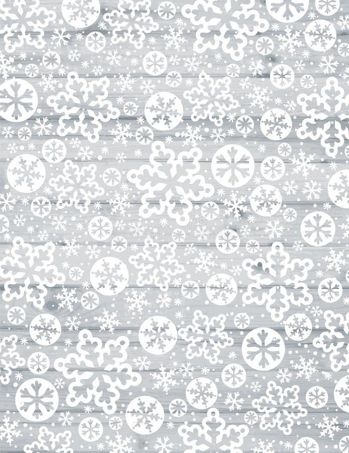 Fondo di Grey Christmas con i fiocchi di neve e le stelle bianchi sopra w illustrazione vettoriale