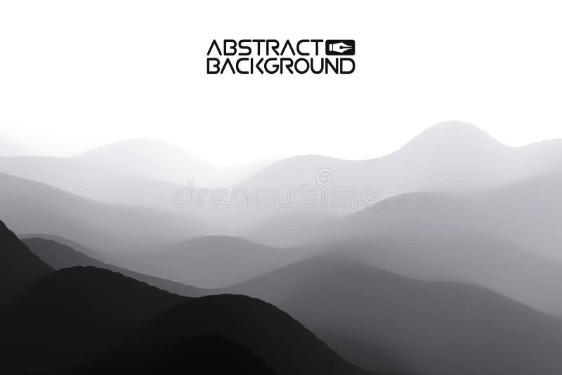 fondo di grey dell'estratto del paesaggio 3D Illustrazione di vettore di pendenza Computer Art Design Template Paesaggio con royalty illustrazione gratis