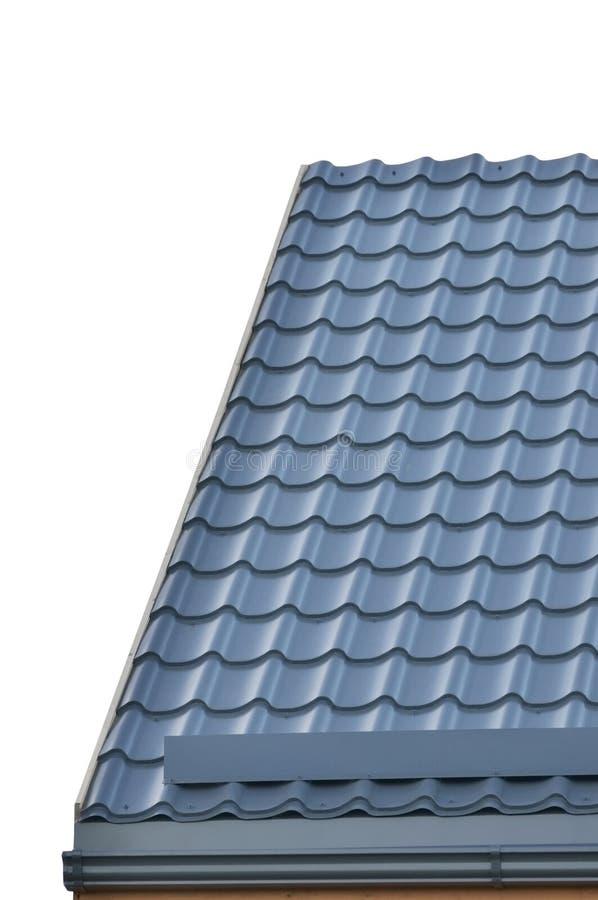 Fondo di Grey Steel Tile Roof Texture, Gray Tiled Roofing, grande primo piano verticale isolato dettagliato, Camera residenziale  immagine stock libera da diritti