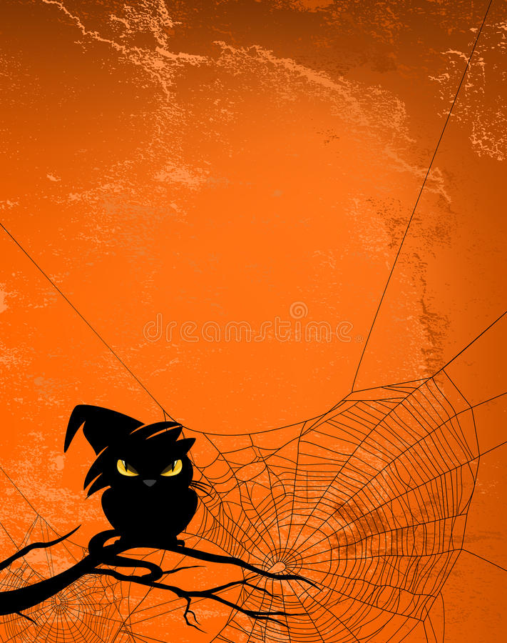 Fondo di Halloween con il gatto nero e la ragnatela illustrazione vettoriale
