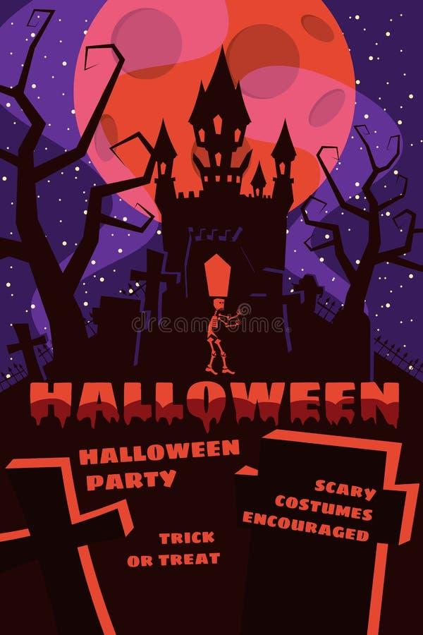 Fondo di Halloween con il semetery e sceleton, castello frequentato, casa e luna piena Manifesto, aletta di filatoio o invito illustrazione vettoriale