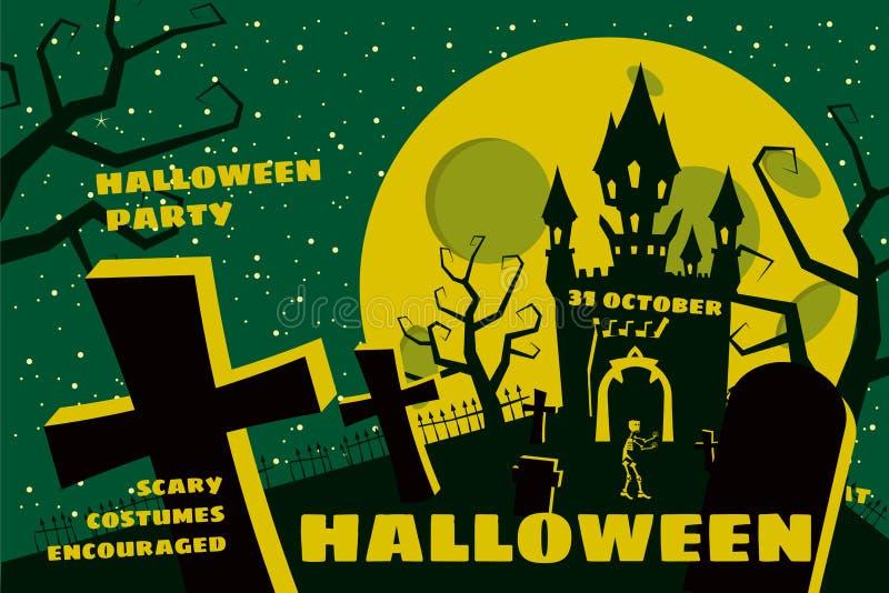 Fondo di Halloween con il semetery e sceleton, castello frequentato, casa e luna piena Manifesto, aletta di filatoio o invito royalty illustrazione gratis