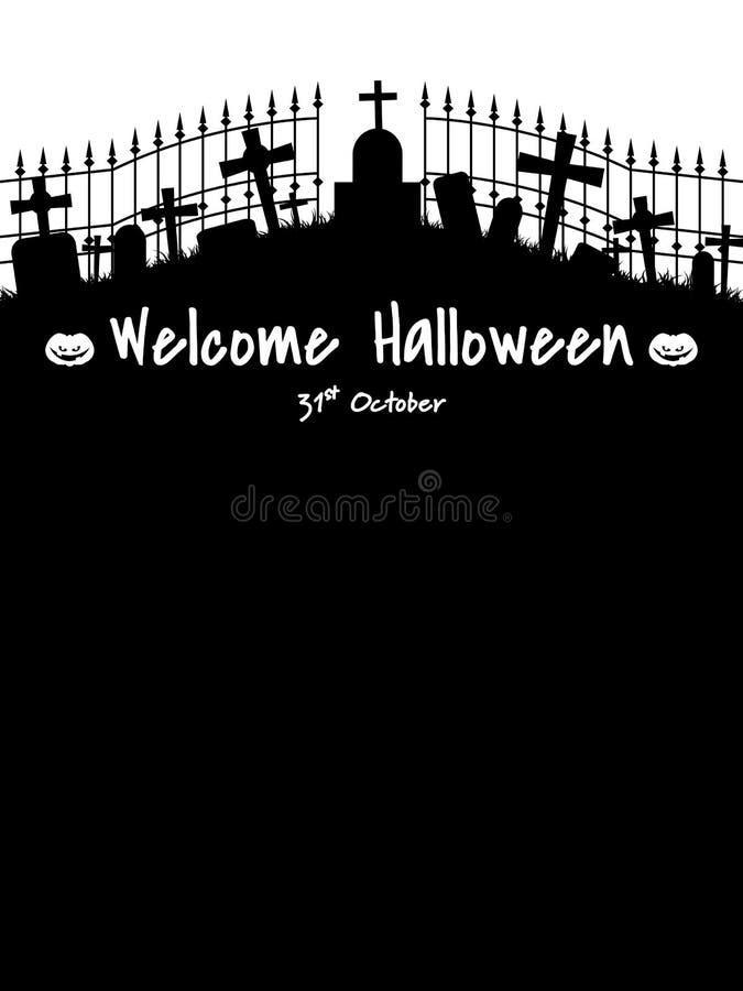 Fondo di Halloween con il testo benvenuto di Halloween illustrazione di stock
