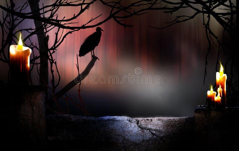 Fondo di Halloween con l'avvoltoio immagini stock libere da diritti