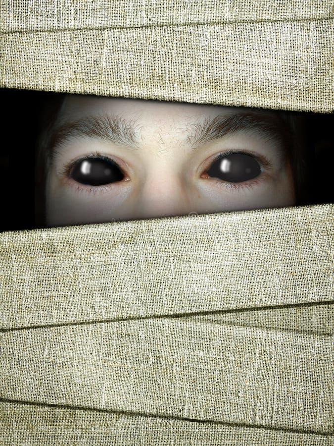 Fondo di Halloween con la fasciatura delle mummie e degli occhi nello scuro fotografie stock libere da diritti
