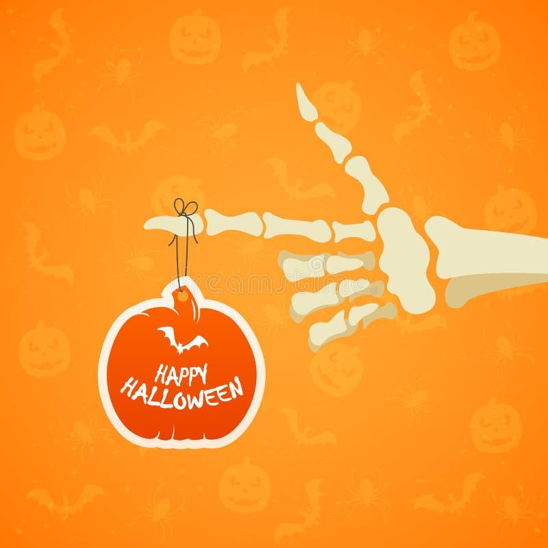 Fondo di Halloween con la mano e la zucca di scheletro illustrazione vettoriale